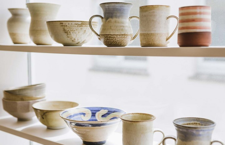 Pottery on display in Saltings